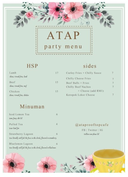 Image result for menu atap rooftop cafe