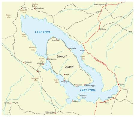 61660456-vector-road-map-of-indonesian-volcano-lake-toba-on-sumatra